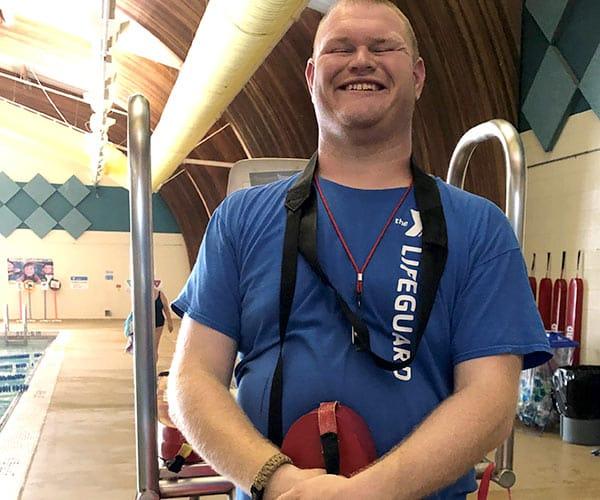 Josh at his lifeguard job