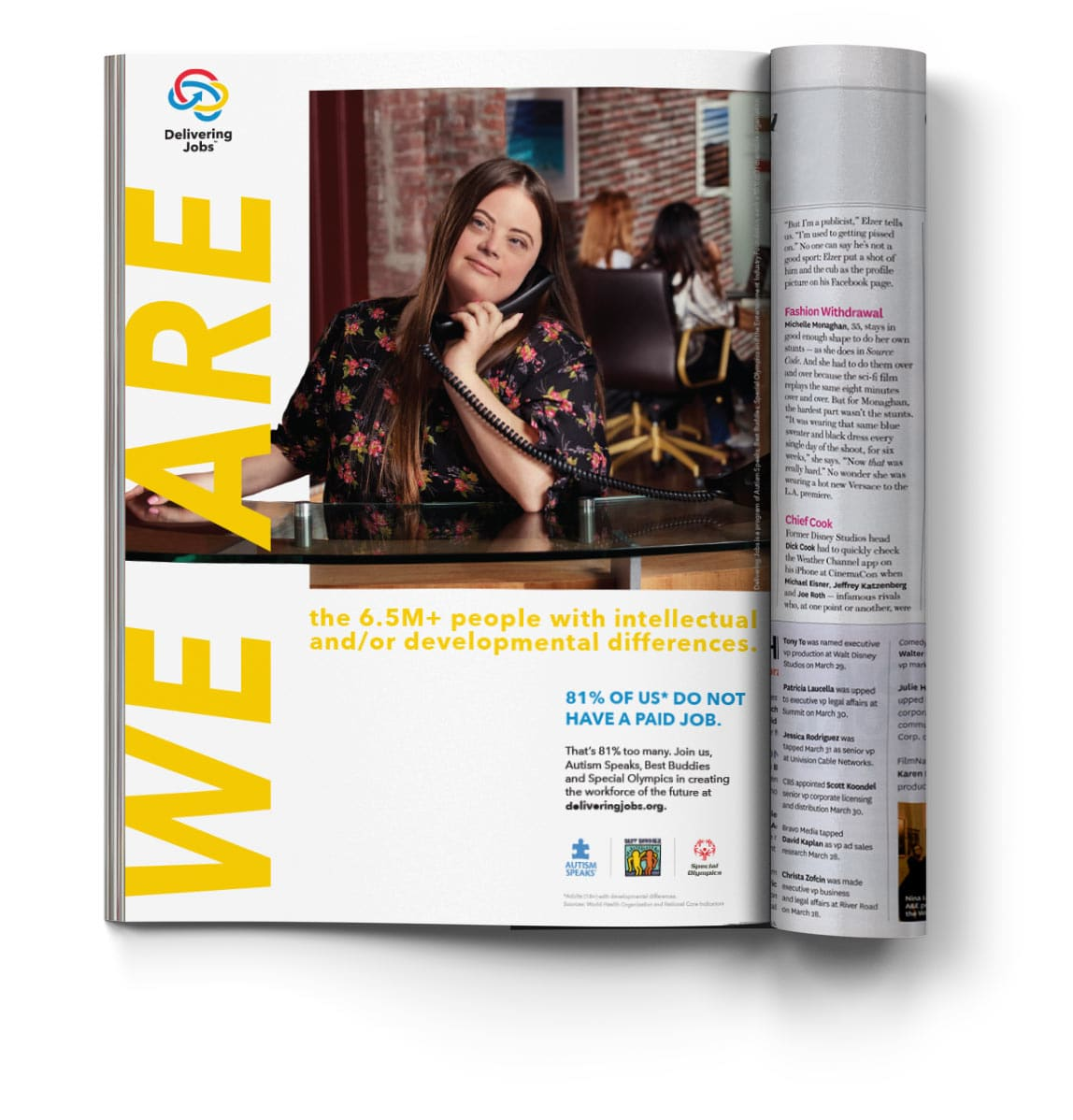 """Caley Versvelt in a Delivering Jobs """"We Are"""" magazine ad"""
